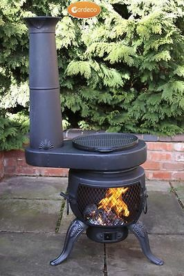 Tia Chimenea Black - Large Chim Stove With BBQ Grill