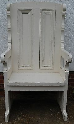 Magnificant Vintage Painted Pine Bench Throne Chair Pew Shabby Chic Finish