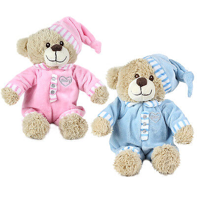 "Brand New Childs 11"" Baby Boy Girl Blue Pink Teddy Bear Plush Soft Toy Children"