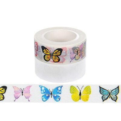 1 Colorful butterfly Washi Tape Scrapbooking Sticker Masking 15mm×10M &154