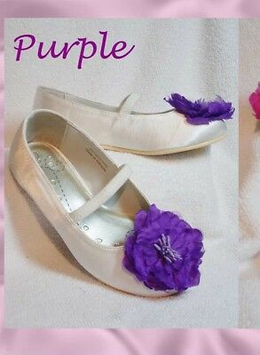 BNWT & Box BHS Girls Infant 4 7 EUR 20 BHS IVORY Satin PURPLE Flower Shoes