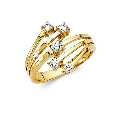 0.75 Ct Diamond Solid 14K Yellow Gold Cocktail Band Statement Ring