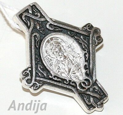 Orthodox Russian Icon Cross Jesus Christ Savior Holy Face 925 Sterling Silver