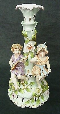 19TH c Antique BLUE X MARK Candle Holder Boy Playing Lute Girl Singing Porcelain