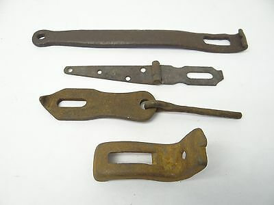 Antique Lot Old Metal Architectural Barn Door Hardware Hinges Supports Brackets