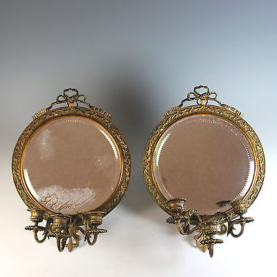 Pair of Antique French Bronze Candle Sconces