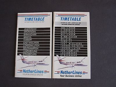 NetherLines Your Business Airline Timetables Oct 1986 - Mar 1987 & 1987 - 1988