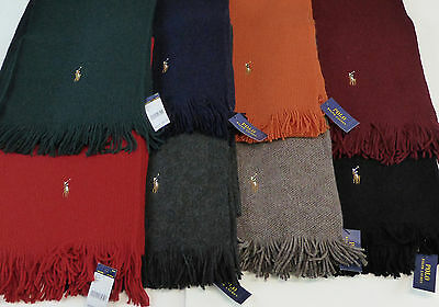 Polo Ralph Lauren 100% Merino Wool Scarf w/ Fringe $60 Multi-color Pony 8 Colors