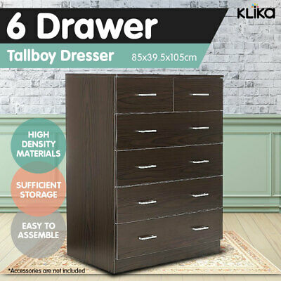New Tallboy Dresser 6 Chest of Drawers Table Cabinet Bedroom Storage Brown