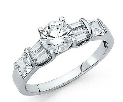 1 Ct Round VVS1 Diamond Engagement Ring Real Solid 14K White Gold
