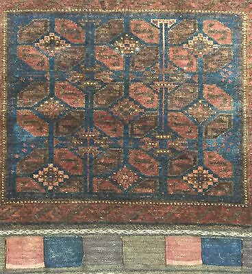 Beautiful Bag Face - 1900s Antique Balouch Rug - Brown Baluch Carpet 25 x 25 in.
