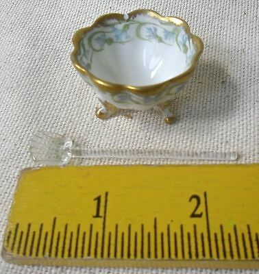 Limoges Antique Salt Dish Bawo & Dotter 1920's w Crystal Spoon French Rare