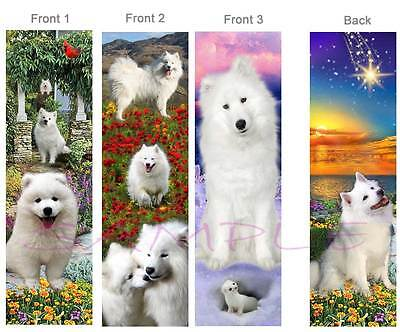 3Lot-SAMOYED BOOKMARK White Alaskan Dog book Card figurine American Eskimp Spitz