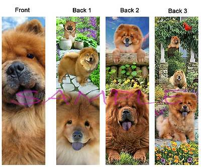 3 Set-CHOW CHOW BOOKMARK Dog Book Mark CARD Book Figurine Ornament Red Fawn ART