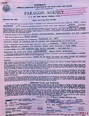 Muddy Waters Concert Contract 1975 Boston Garden - MA - ORIGINAL