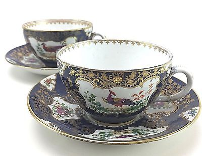 2 Antique Booths England Chelsea Birds Coffee Cups Saucers Floral Cobalt Blue
