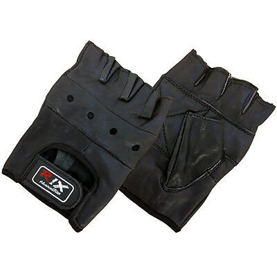 Rix Leather Fingerless Half Finger Padded Cycling Bike Gym Weight Lifting Gloves