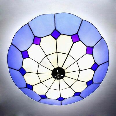 "16"" Stained Glass Ceiling Light Fixture Tiffany style Flush Mount Ceiling Lamp"