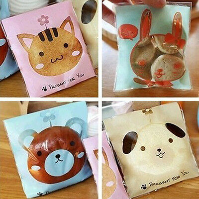 50/100 Cute Cookie Biscuit Plastic Gift Bags Sweet Candy Self-adhesive Party Bag