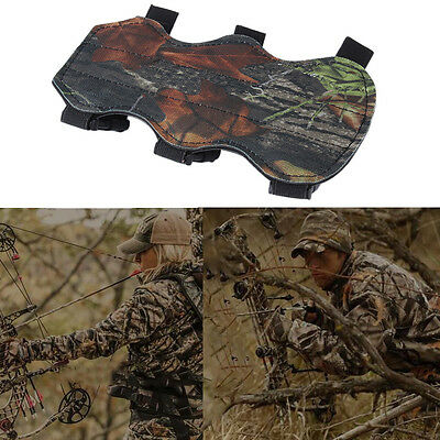 Archery Bow Arm Guard Protection Forearm Safe 3-Strap Camo Leather New ZY