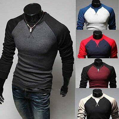 New Men's Fashion Casual Slim Fit Crew-neck Long Sleeve Tops Tee T-shirt
