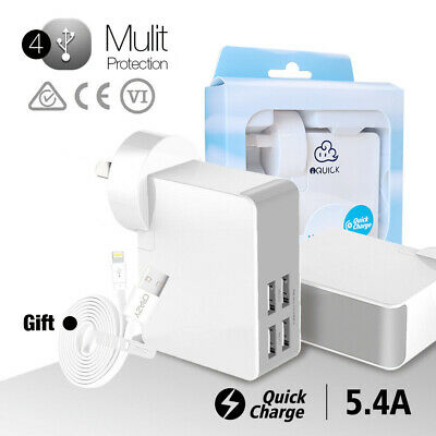 4 Ports USB AC Wall Charger Adapter for Apple iPhone 6 S 7 Plus iPad Air Samsung