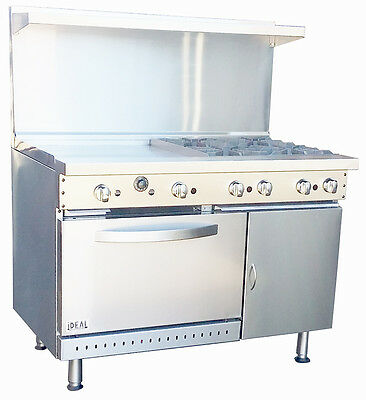 """New. Commercial 48"""" Combination Range with 4 Burners & 24"""" Griddle. Made in USA."""