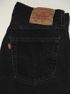 vtg 90s Levi's 501 Button Fly Jeans Black Size 31x33 Made in USA 100% Cotton EUC