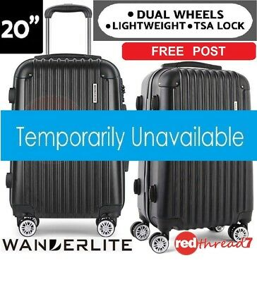 "Black Luggage Suitcase Trolley Wheel 20"" TSA Travel Carry Hard Case Lightweight"
