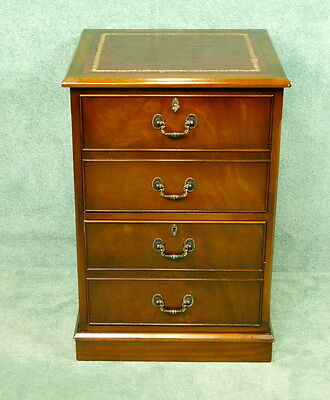 Mahogany Leather Top Filing Cabinet