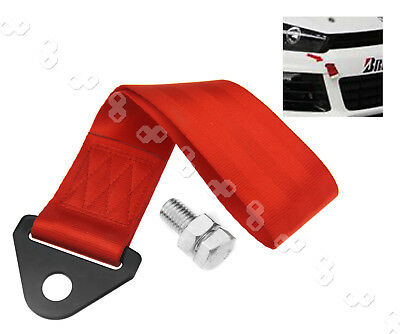 Red Tow Strap Belt Universal Recovery Hook For JDM Racing Race Cars Drift Rally