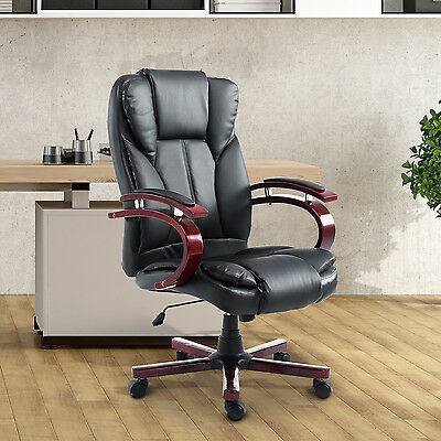 HOMCOM PU Leather High Back Executive Office Chair Adjustable Swivel Wood Black