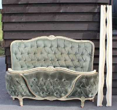 1940's Corbeille Bed , Head, foot and side rails in Green  Double. Check sizes.