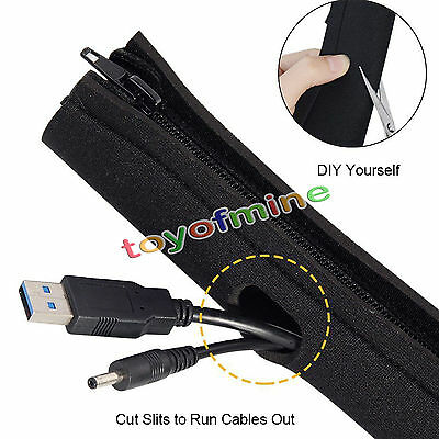 4X Cable Management Organizer Neoprene Cable Cord Wire Cover Hider Sleeves PC TV