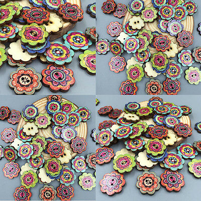 50pcs DIY 19mm Flores Botones Madera 2Agujeros Costura Tejer wooden buttons Arte