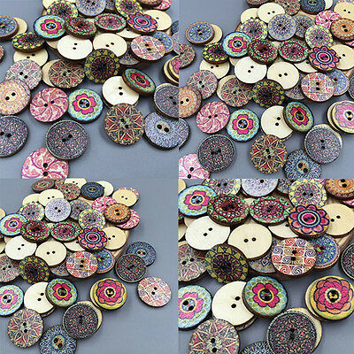 50pcs DIY 20mm Flores Botones Madera 2Agujeros Costura Tejer wooden buttons Arte