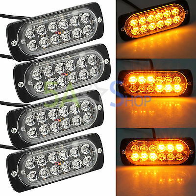 4pcs 12/24V Car Strobe Amber 12LED Light Flashing Warning Magnetic Hazard Beacon
