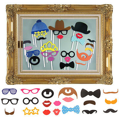 UK Large Picture Frame + 24 Photo Props Booth Wedding Hen Do Party Selfie Game