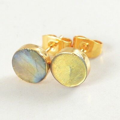 8mm Round Natural Labradorite Stud Earrings Gold Plated T023998