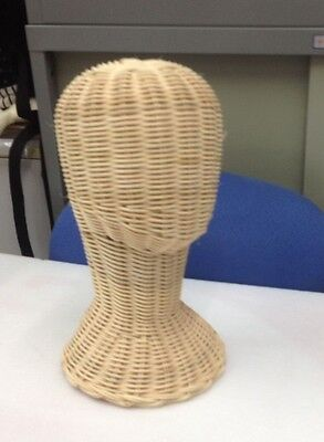 "12"" Vintage Wicker Head Holder Wig Glass Hat Display Stand Rattan Natural"