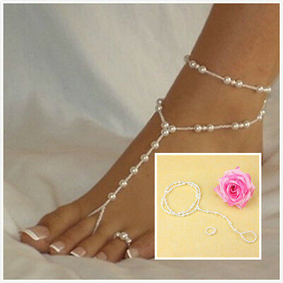 Womens Barefoot Sandal Beach Pearl Anklet Ankle Bracelet Foot Chain SAOZ