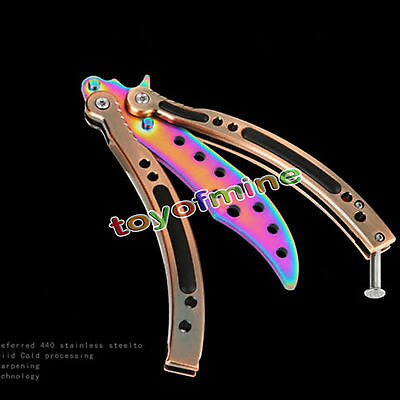 CSGO Rainbow Fade Practice Knife Balisong Butterfly Tactical Combat Trainer New