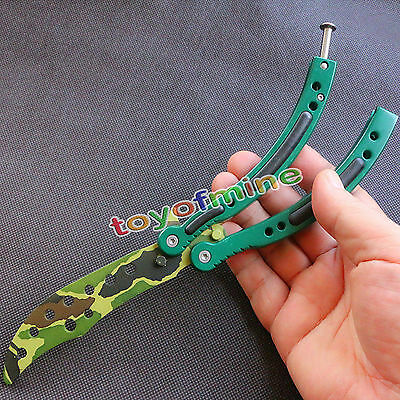 CSGO BOREAL FOREST Military Practice Knife Balisong Butterfly Trainer Metal New