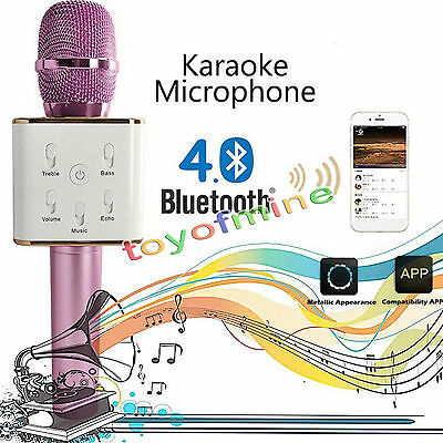 Pink Q7 Portable Karaoke Microphone Mic Player Home KTV Bluetooth Speaker 4.1