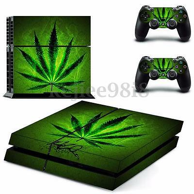 Weed Skin Vinyl Decal Sticker Cover For Playstation 4 PS4 Console + 2 Controller