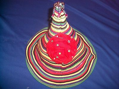 Ladies Girls Festival Party Sun Hat Colourful Pixie Funky Hippy Flower Christmas