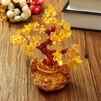 20cm Chinese Feng Shui Lucky Tree Crytal Crystalline Citrine Wealth Money Pot