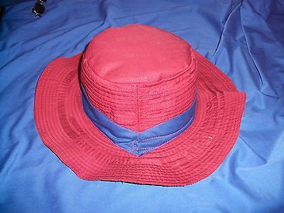 Traditional  Cambodian Farmers Sun Hat - Maroon  Flat Top With Dark Blue Ribbon