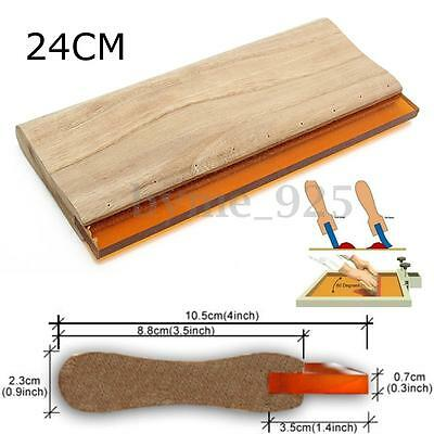 24cm Silk Screen Printing Squeegee Blade Wood Handle Ink Scraper 65 Hardness