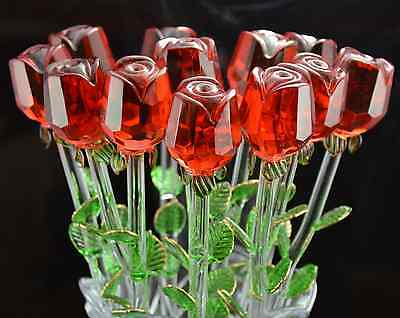 New Glass Red Rose Valentine's Day Present Love Mother's Day Flower Ornament